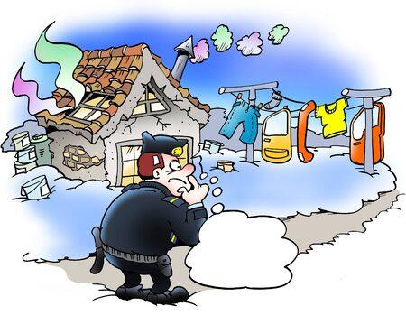 policia caricatura: oficial de la polic�a en busca de huellas sospechosas Foto de archivo