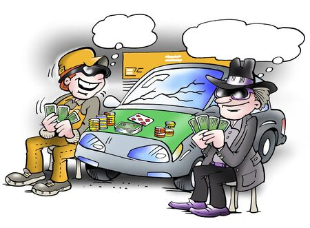 Two people play poker game on a car