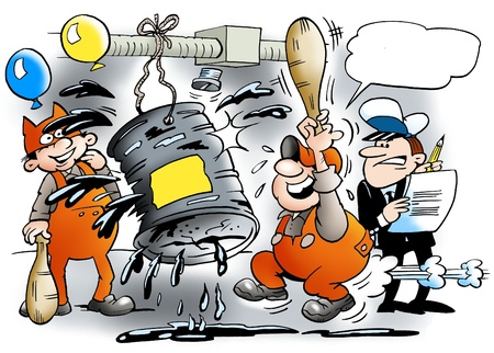 satirical: Festivities at the mechanic workshop Stock Photo