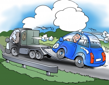 motorist: The driver of the small car saves fuel Stock Photo