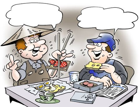 eat cartoon: Working man practicing in eating with chopsticks