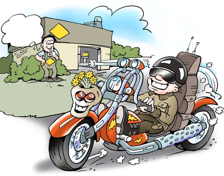 satire: Biker with a cool smart designed motorcycle