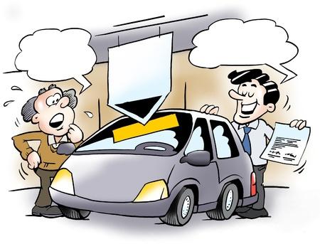 caricaturas de personas: Un vendedor de coches y un cliente
