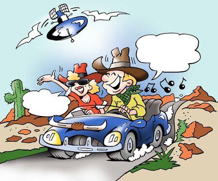 montañas caricatura: La música y las comunicaciones por Internet en el viaje de coche