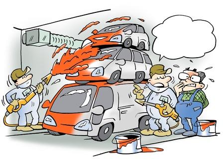 lopende band: Auto's worden geschilderd op de lopende band