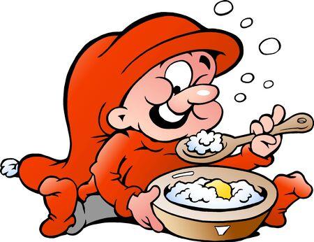 Hand-drawn Vector illustration of elf eating porridge