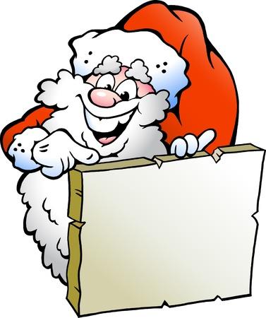 welcome smile: Dibujados a mano ilustraci�n vectorial de una Santa feliz se�alando un signo
