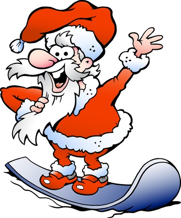 Hand-drawn Vector illustration of an Happy Santa on snowboard Vector