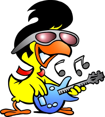 Hand-drawn illustration of an smart chicken playing on guitar Illustration
