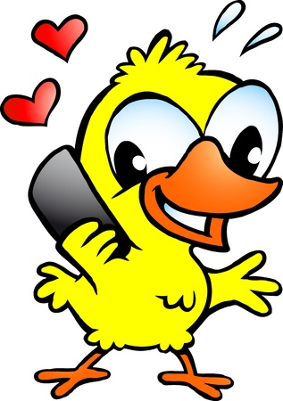 Hand-drawn Vector illustration of an chicken chicken that speaking on cellphone Vector