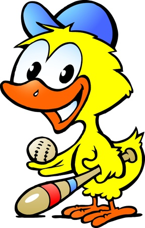 baseball cartoon: Hand-drawn Vector illustration of an cute chicken baby with bassball equipment