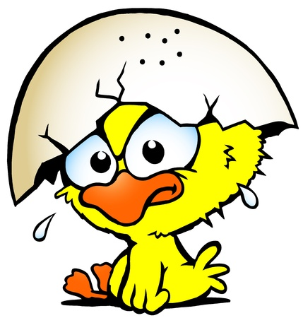 Hand-drawn Vector illustration of an cute unhappy baby chicken Vector