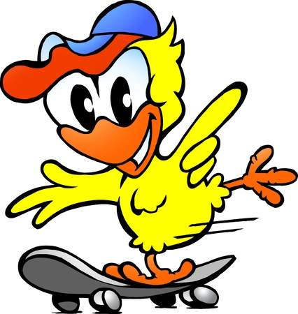 Hand-drawn Vector illustration of an cute baby chicken on skateboard