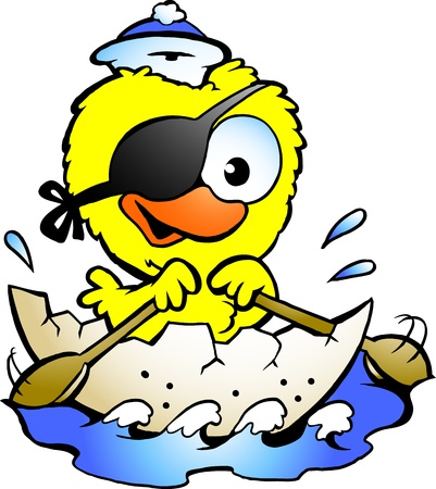 Hand-drawn Vector illustration of an cute baby chicken rowing a boat Vectores