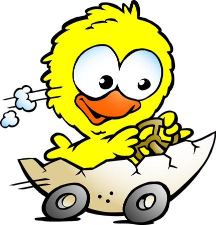 illustration of an cute baby chicken driving in a eggshell Vector