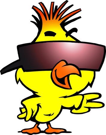 pollo caricatura: Hand-drawn Vector ilustración de un pollo inteligente con gafas de sol fresco Vectores
