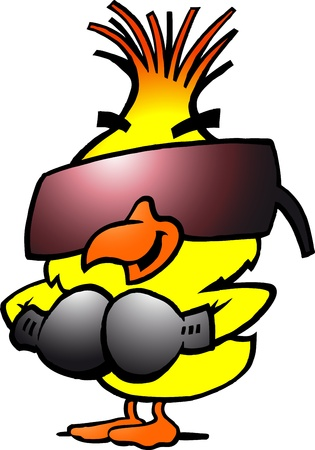 sports glove: Hand-drawn Vector illustration of an smart boxing chicken with cool sunglass Illustration