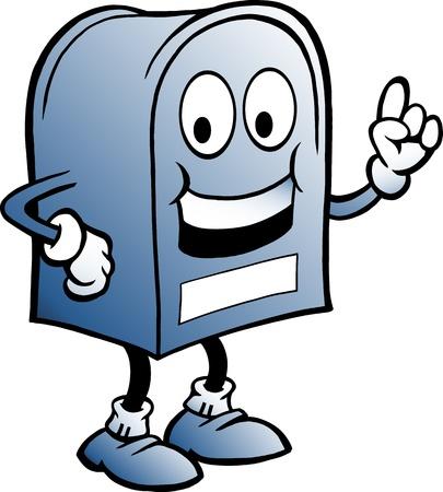 mail man: Hand-drawn Vector ilustraci�n de un buz�n azul