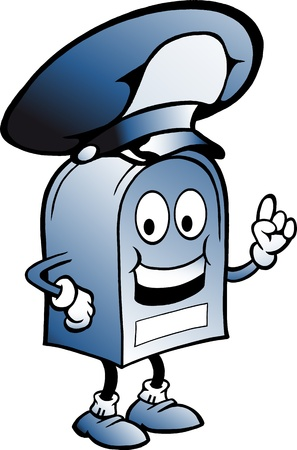 mailman: Hand-drawn Vector illustration of an blue Mailbox with a big hat