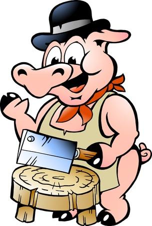 viande couteau: Hand-drawn Vector illustration d'un porc Butcher