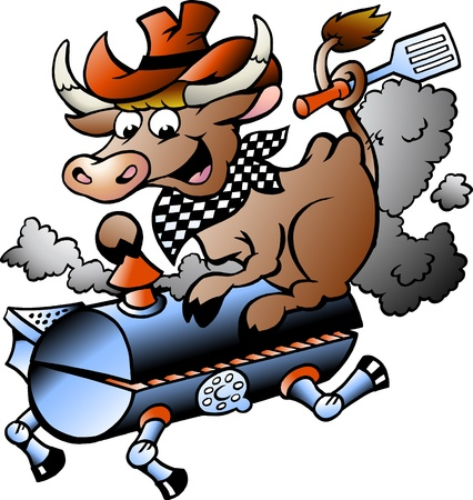 bbq ribs: Hand-drawn Vector illustration of an Cow riding a BBQ barrel Stock Photo