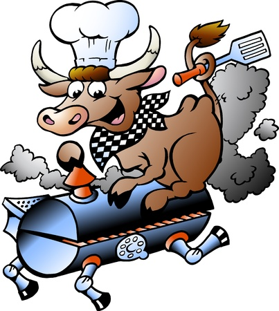 pork rib: Hand-drawn Vector illustration of an Chef  Cow riding a BBQ barrel