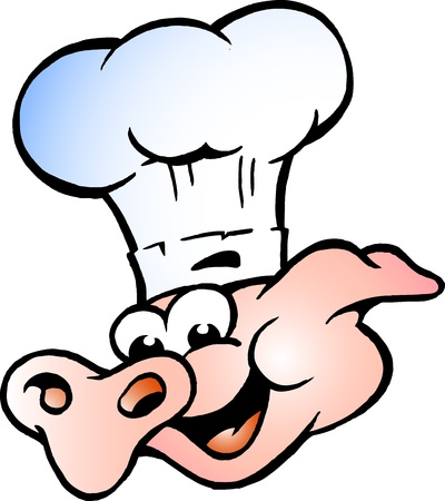 Hand-drawn Vector illustratie van een chef-kok Pig Head photo