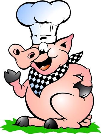 jabali: A mano de la ilustraci�n del vector de un cerdo Chef de pie y se�alando Foto de archivo