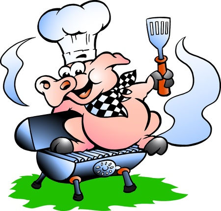Hand-drawn Vector illustration of an Chef Pig standing on a BBQ barrel illustration