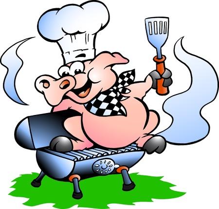 cerdo caricatura: Hand-drawn Vector ilustración de un pie de cerdo Chef en un barril BBQ