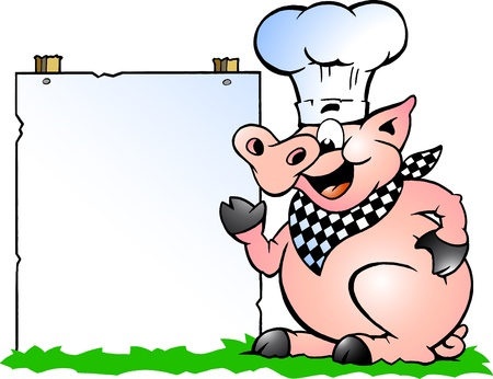 roast dinner: Hand-drawn Vector illustration of an Chef Pig standing and pointing towards a sign