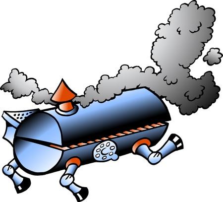 bbq barrel: Hand-drawn Vector illustration of an running BBQ barrel