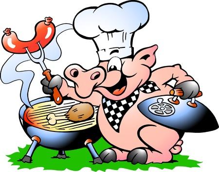 chorizos asados: A mano de la ilustraci�n del vector de un cerdo Chef de pie y hacer barbacoa