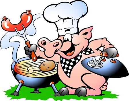 Hand-drawn Vector illustration of an Chef Pig standing and making BBQ  Ilustração