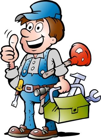 plumber with tools: Dibujados a mano ilustraci�n vectorial de un manitas feliz fontanero, dando pulgar hacia arriba Vectores
