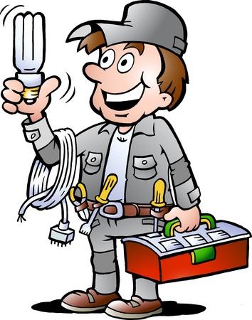Hand-drawn Vector illustration d'un bricoleur électricien heureux, tenant une ampoule économie d'énergie ont
