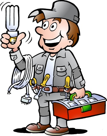 electrical safety: Hand-drawn Vector illustration of an happy Electrician Handyman, holding a energysaving light bulb