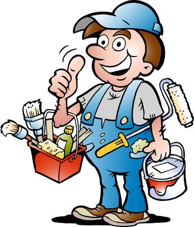 Hand-drawn Vector illustratie van een gelukkige Schilder Handyman, waardoor duim omhoog