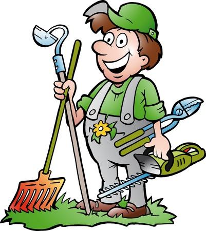 giardinieri: Disegnati a mano illustrazione vettoriale di un giardiniere in piedi felice con il suo attrezzo del giardino Vettoriali