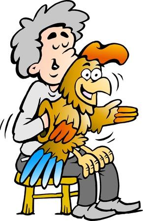 Disegnati a mano illustrazione vettoriale di un ventriloquo A intrattiene con la sua bambola di cazzo Archivio Fotografico - 17437850