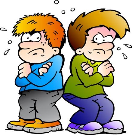 famille malheureuse: Dessin�s � la main illustration vectorielle de deux gar�ons ennemis