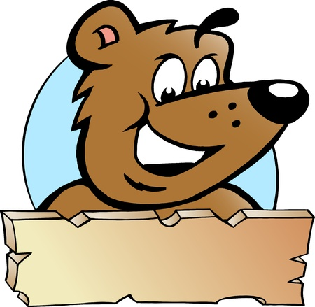 Hand-drawn Vector illustration of an Happy Proud Brown Bear - Logo Design Vector