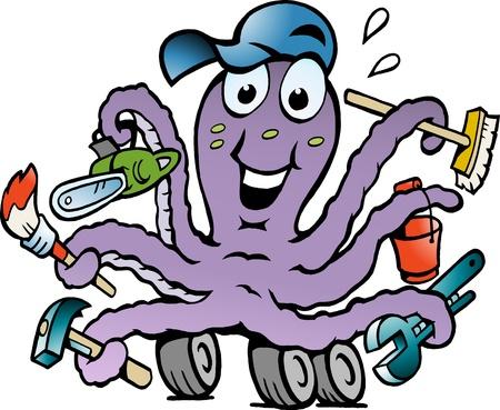 Hand-drawn Vector illustration of an Happy Busy Octopus Handyman