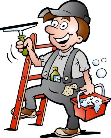 cleaning window: Disegnati a mano illustrazione vettoriale di un felice Window Cleaner Vettoriali