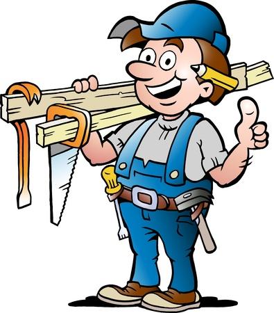 cartoon board: Hand-drawn illustration of an Happy Carpenter Handyman