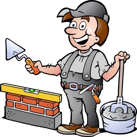 Hand-drawn Vector illustratie van een gelukkige Metselaar Handyman Vector Illustratie
