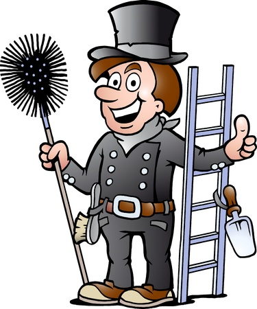 sweeping: Hand-drawn Vector ilustraci�n de un deshollinador feliz
