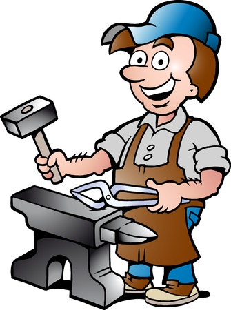 steel worker: Hand-drawn Vector illustration of an Happy Blacksmith Worker