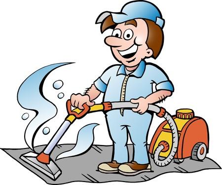 personal de limpieza: Hand-drawn Vector ilustraci�n de un limpiador de alfombras feliz