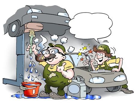 mot: A mechanic who smoke pipe in the workshop
